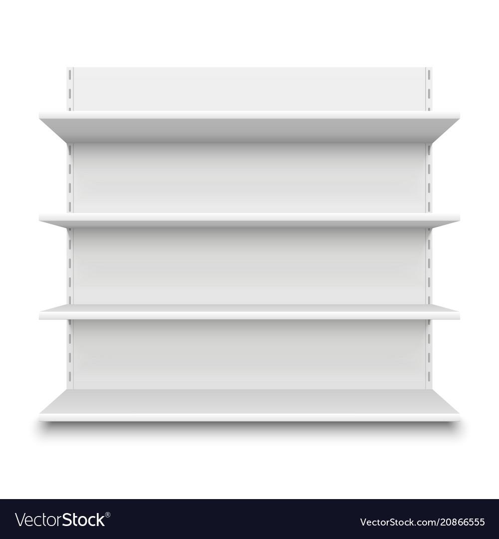 Empty supermarket shelf retail store white blank vector image