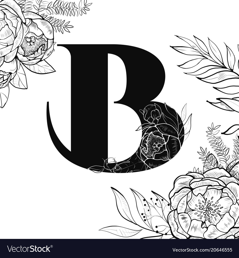 7c1019e26972 Flower alphabet letter b pattern Royalty Free Vector Image