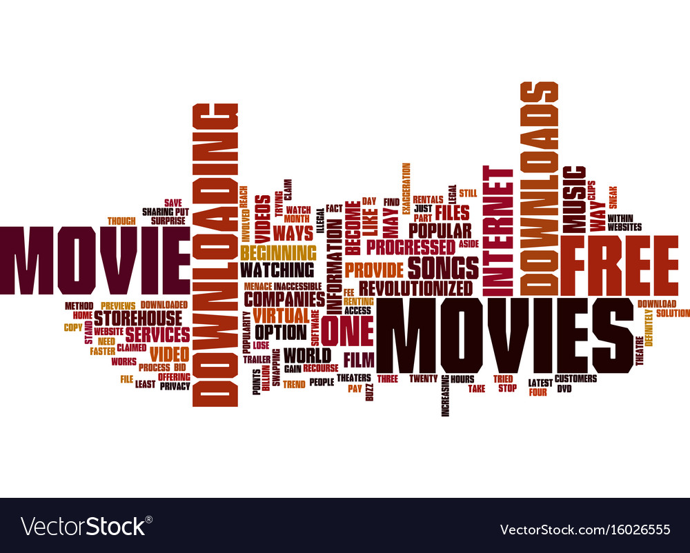 Free Movie Downloads Text Background Word Cloud Vector Image