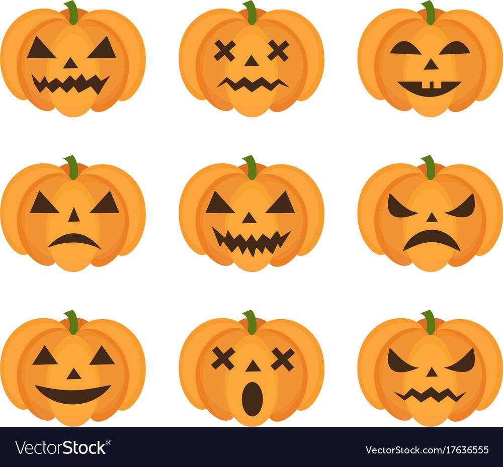 Halloween pumpkin icon set with emoji scary