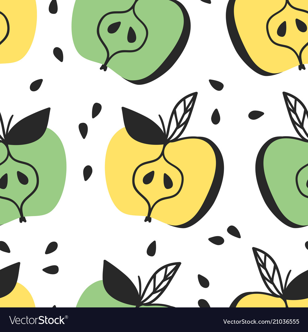 Hand drawn seamless pattern with fruit