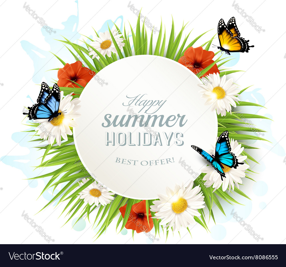 Happy summer holidays background with poppies