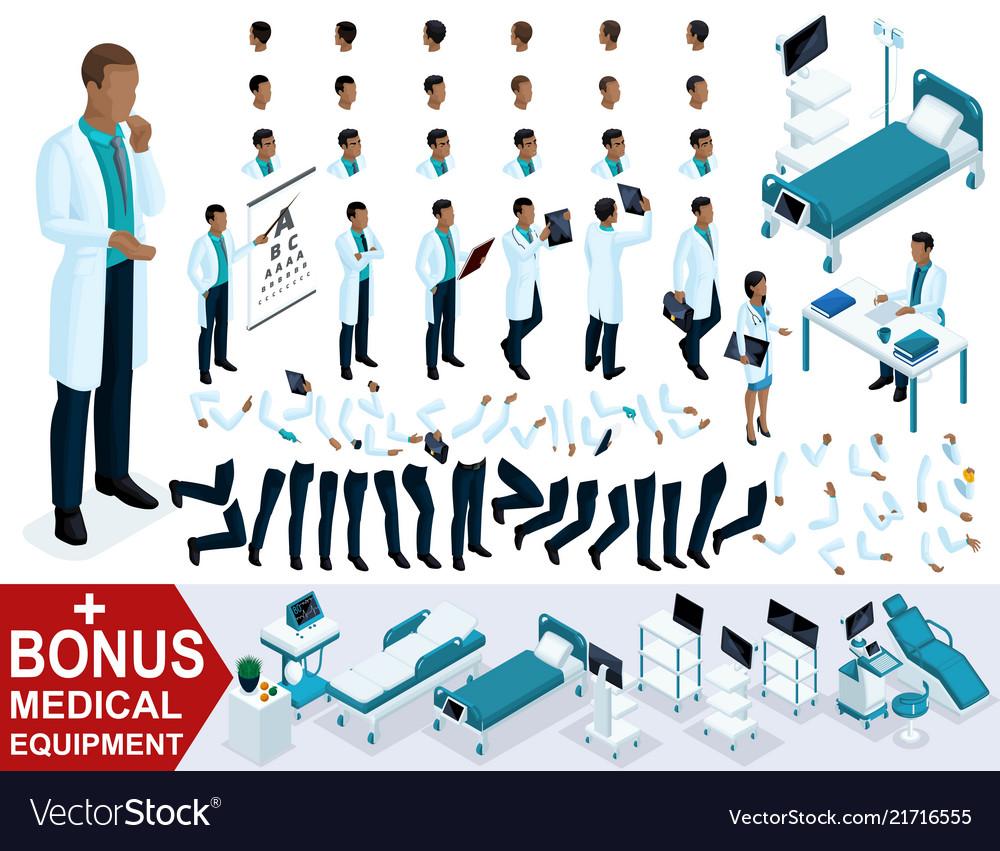 Isometric doctor african american create surgeon