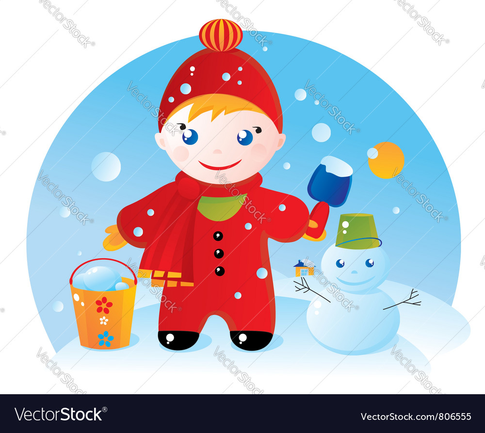 little boy on a winter walk royalty free vector image little boy on a winter walk royalty free vector image