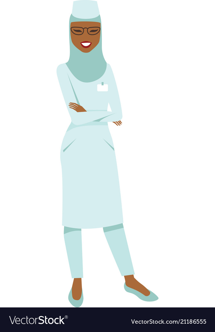 Muslim doctor wearing hijab