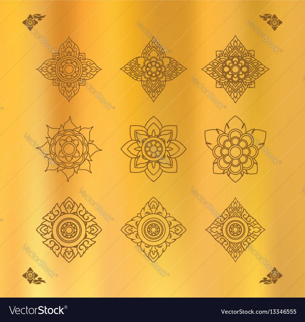 Set of thai art design on gold cloth