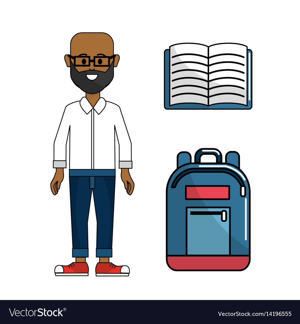 Teacher With Notebook And Backpack Tool Royalty Free Vector