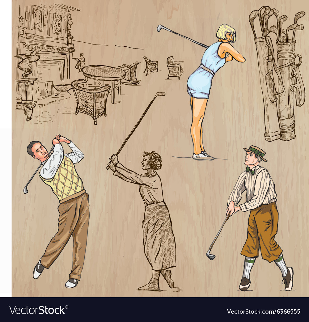Vintage Golf and Golfers - Hand drawn freehands