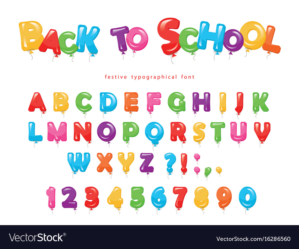 Back to school balloon colorful font for kids vector image