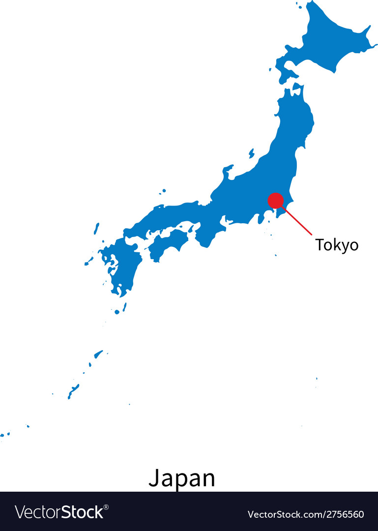 tokyo on japan map Detailed Map Of Japan And Capital City Tokyo Vector Image