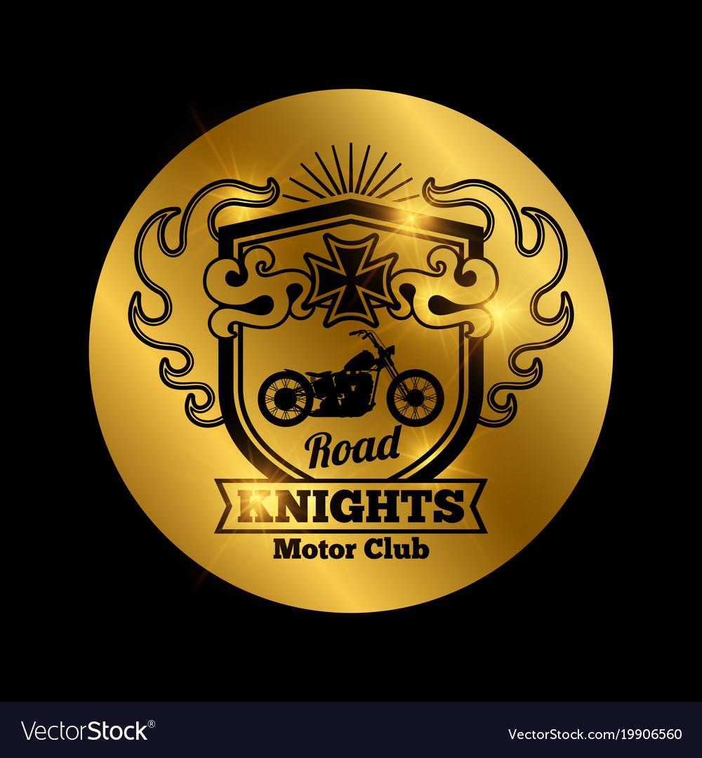 Motorbike club golden emblem