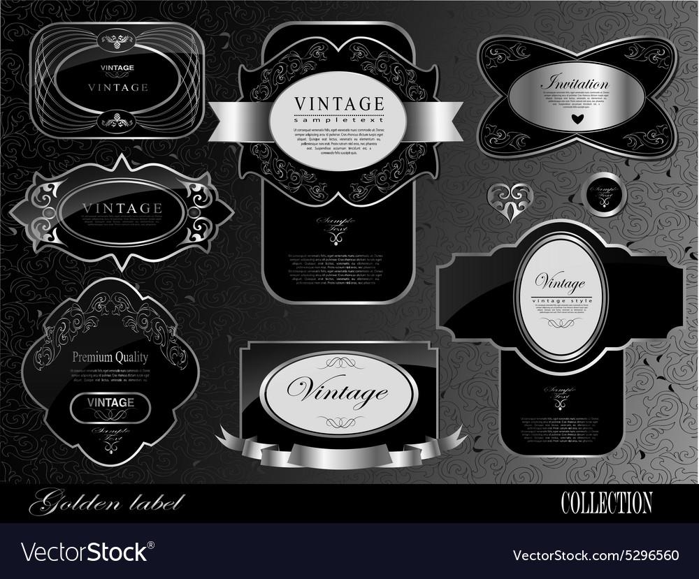 Retro black gold label
