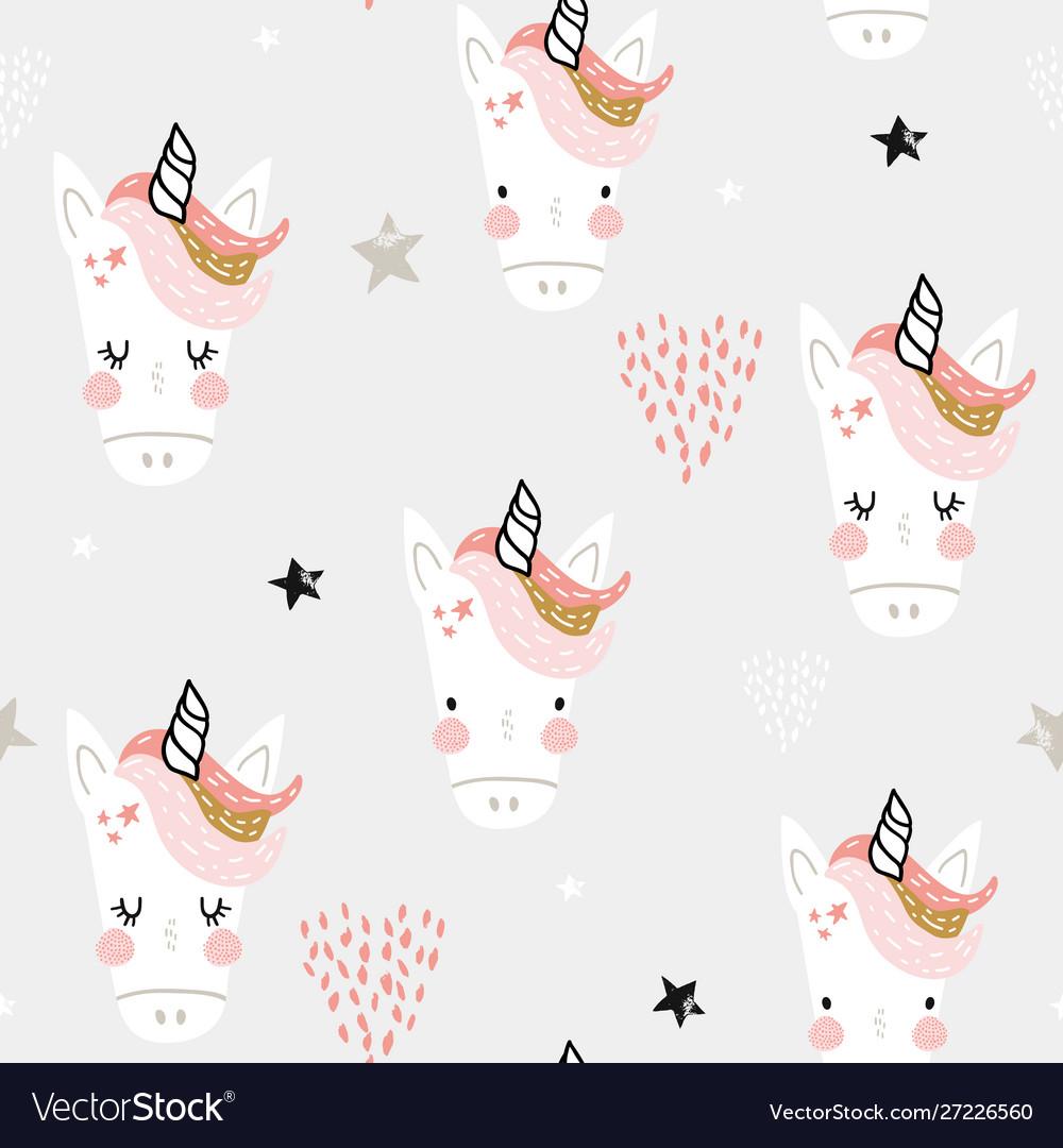 Seamless pattern with cute fairy unicorns heads