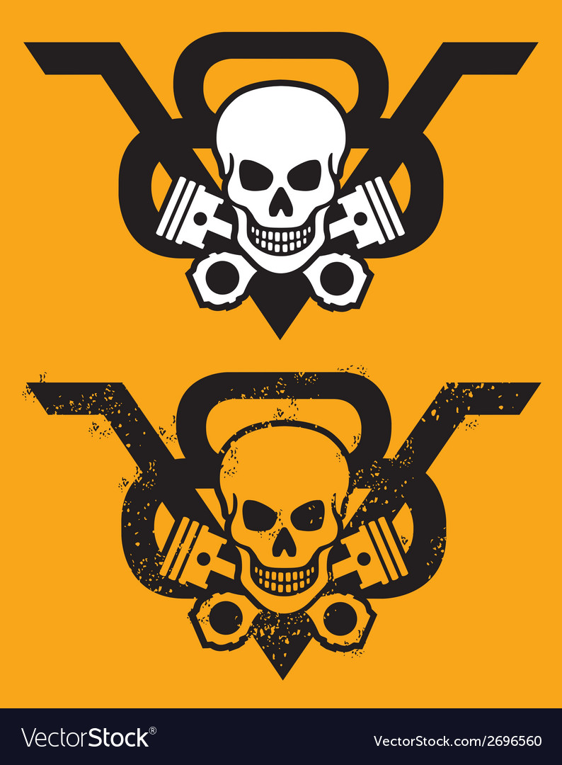 V8 Engine Emblem with Skull and Pistons