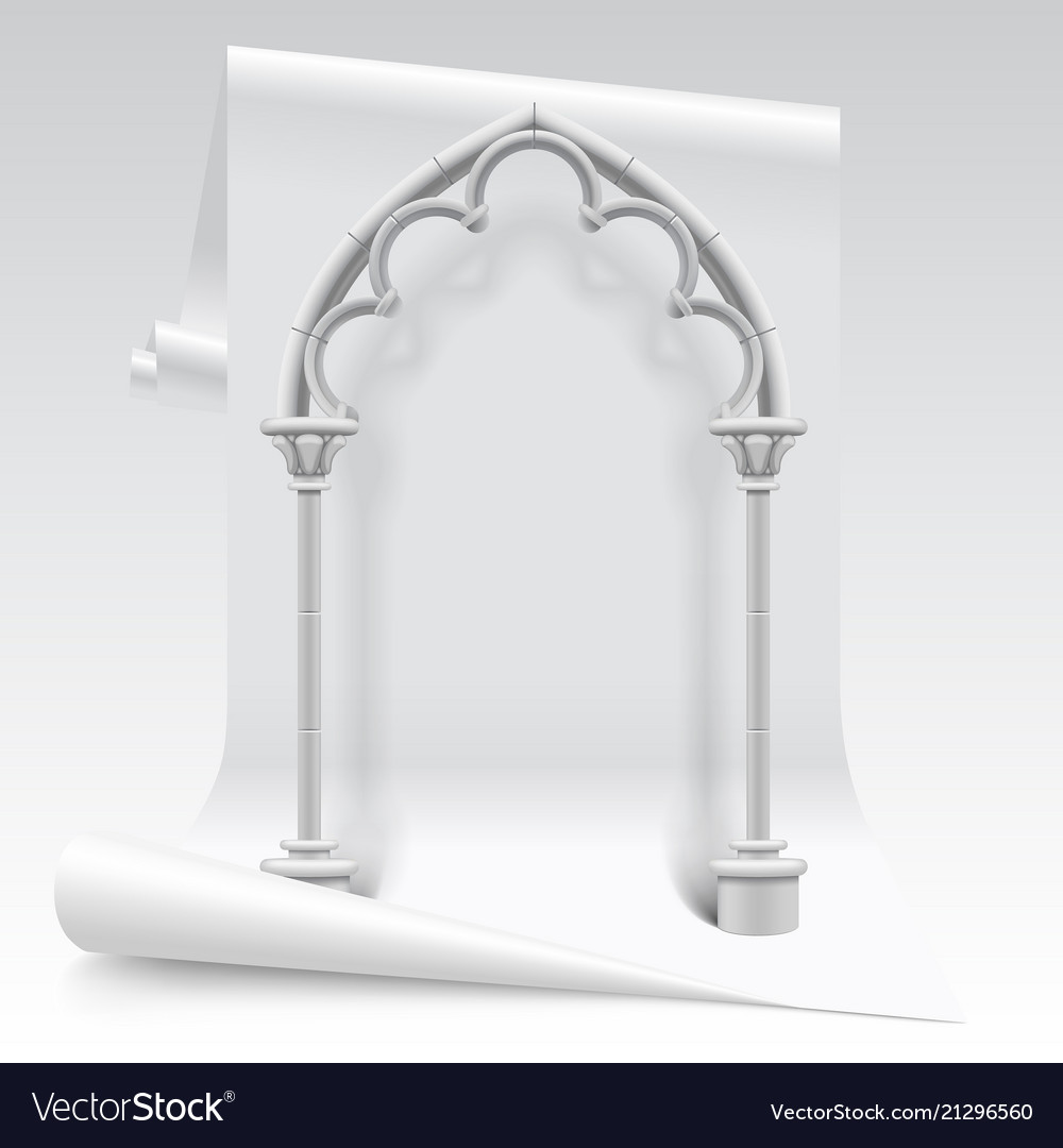 White Paper Sheet And Gothic Arch Model Royalty Free Vector