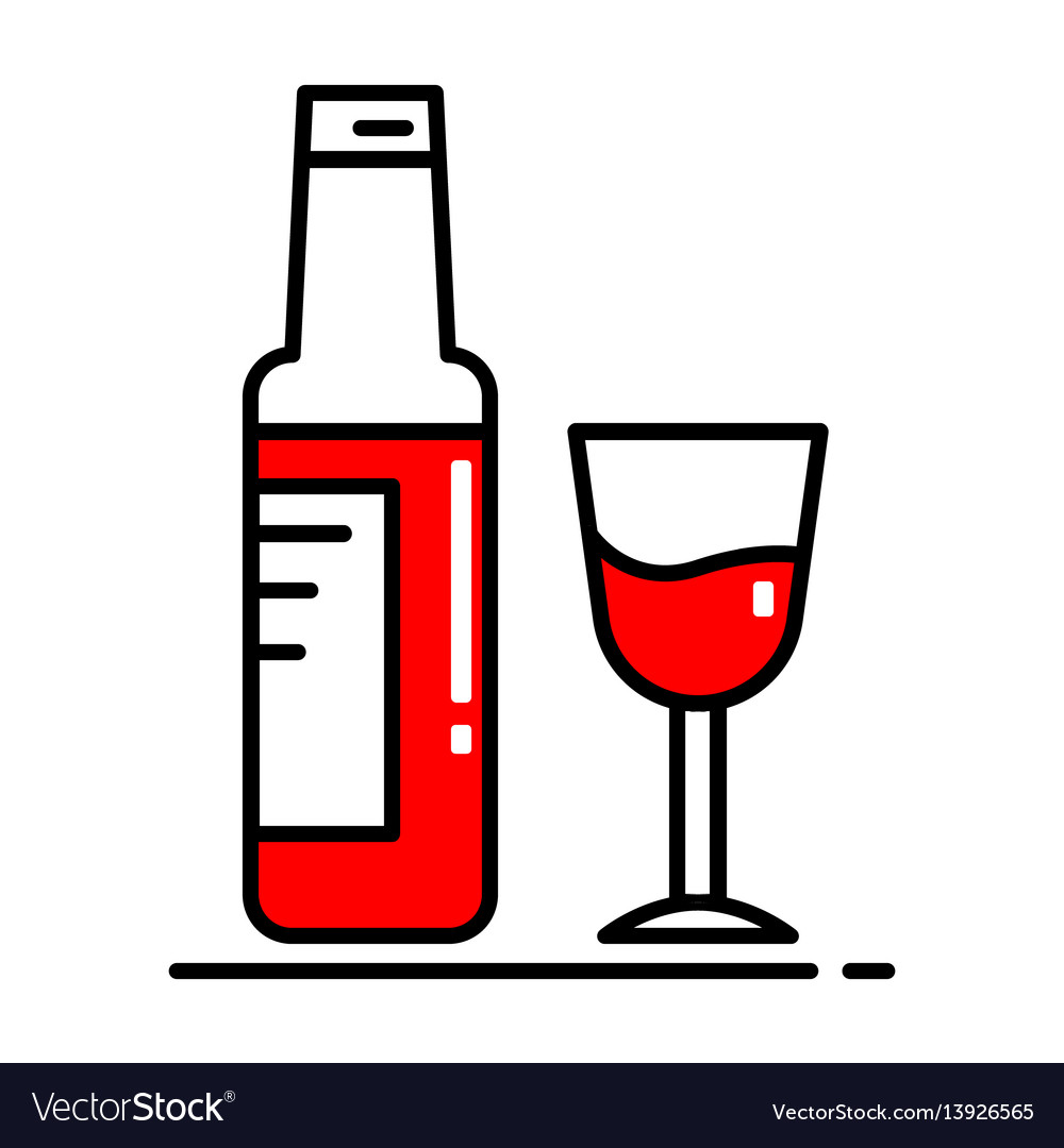 A bottle of wine and a glass icon colors blue vector image