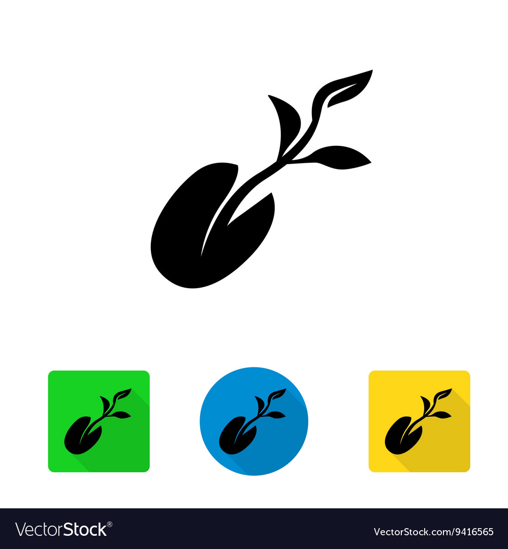 Black starting plant from seed icon