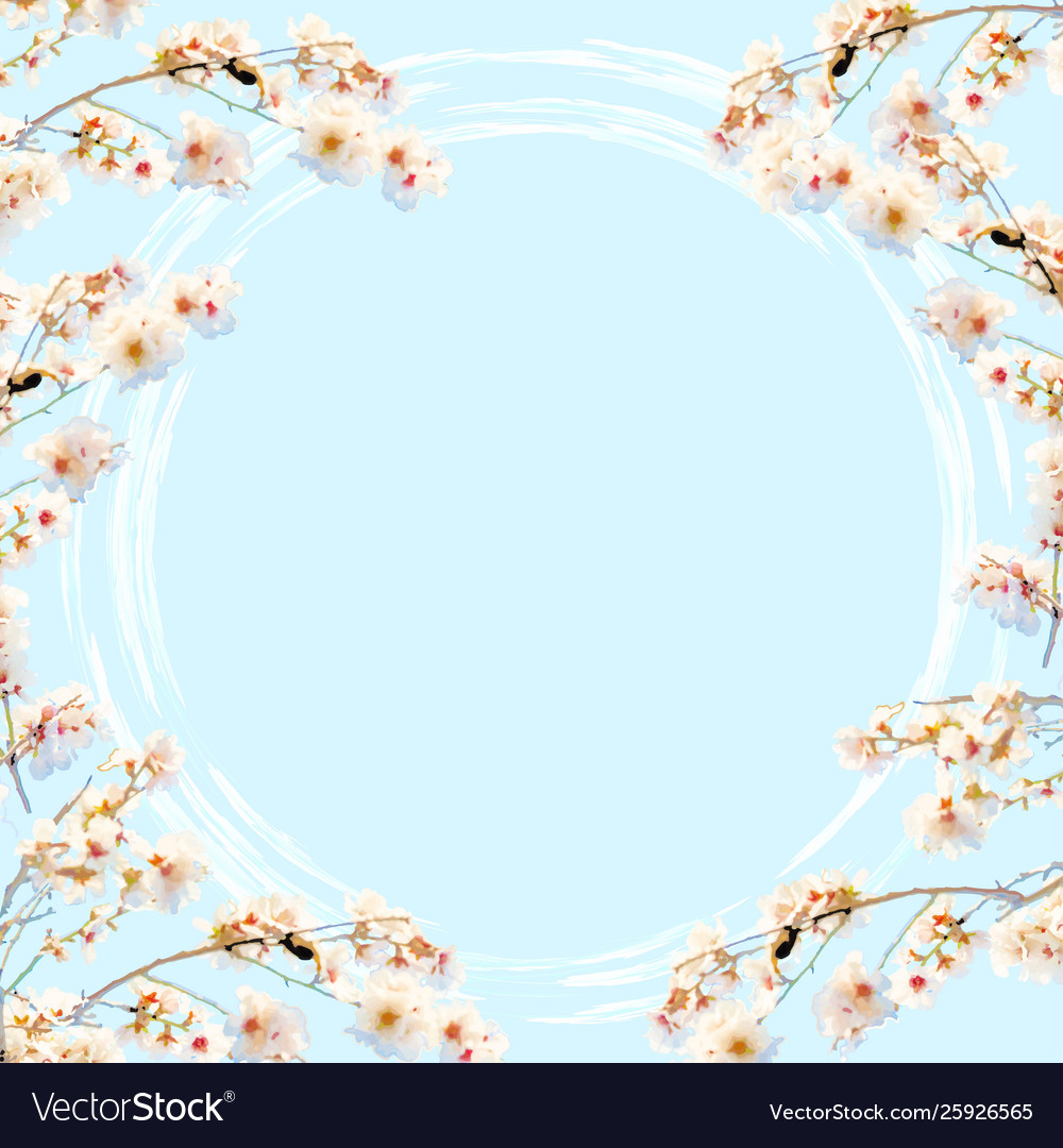 Blue background with cherry blossom decoration