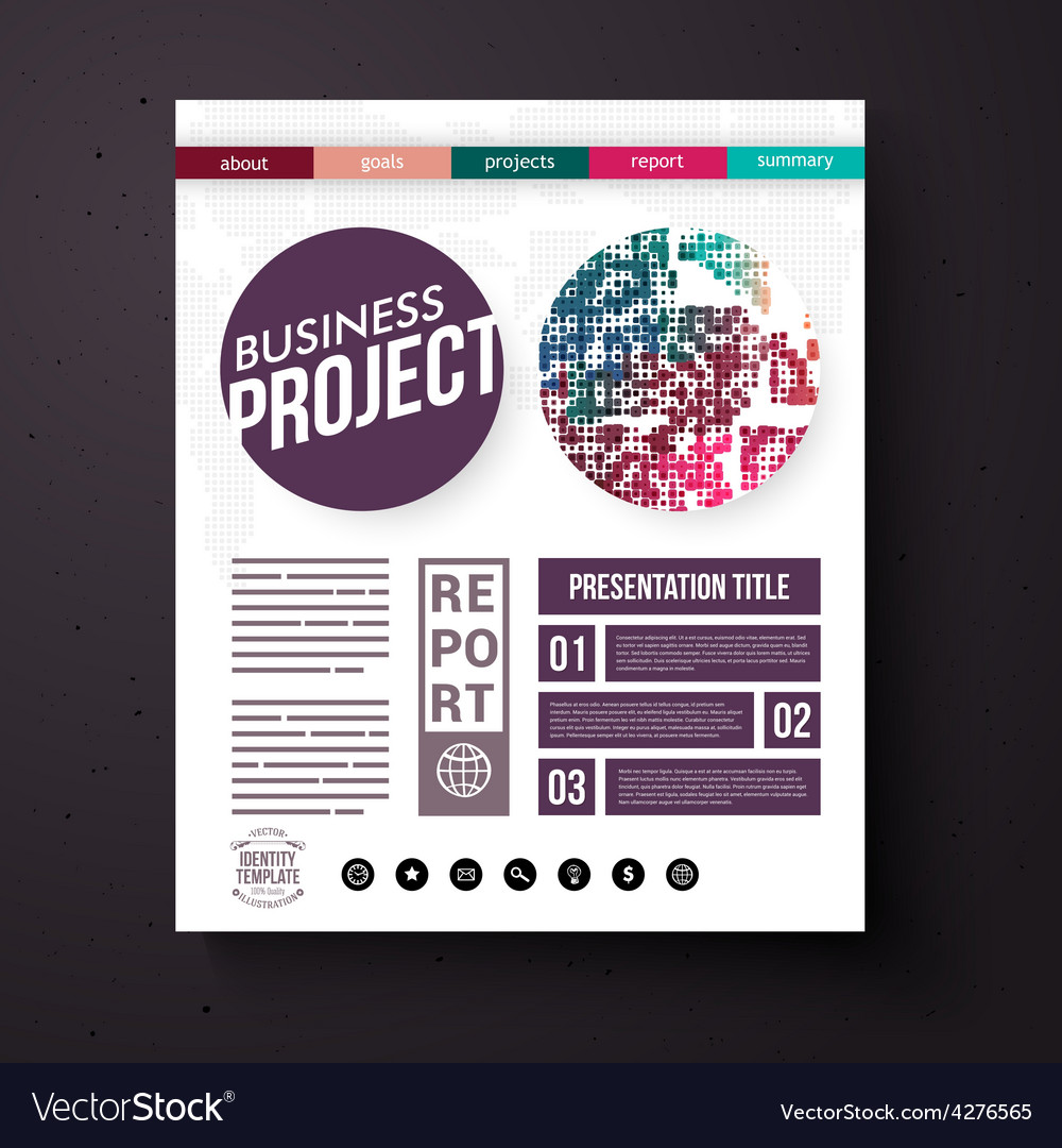 business project report presentation layout vector image