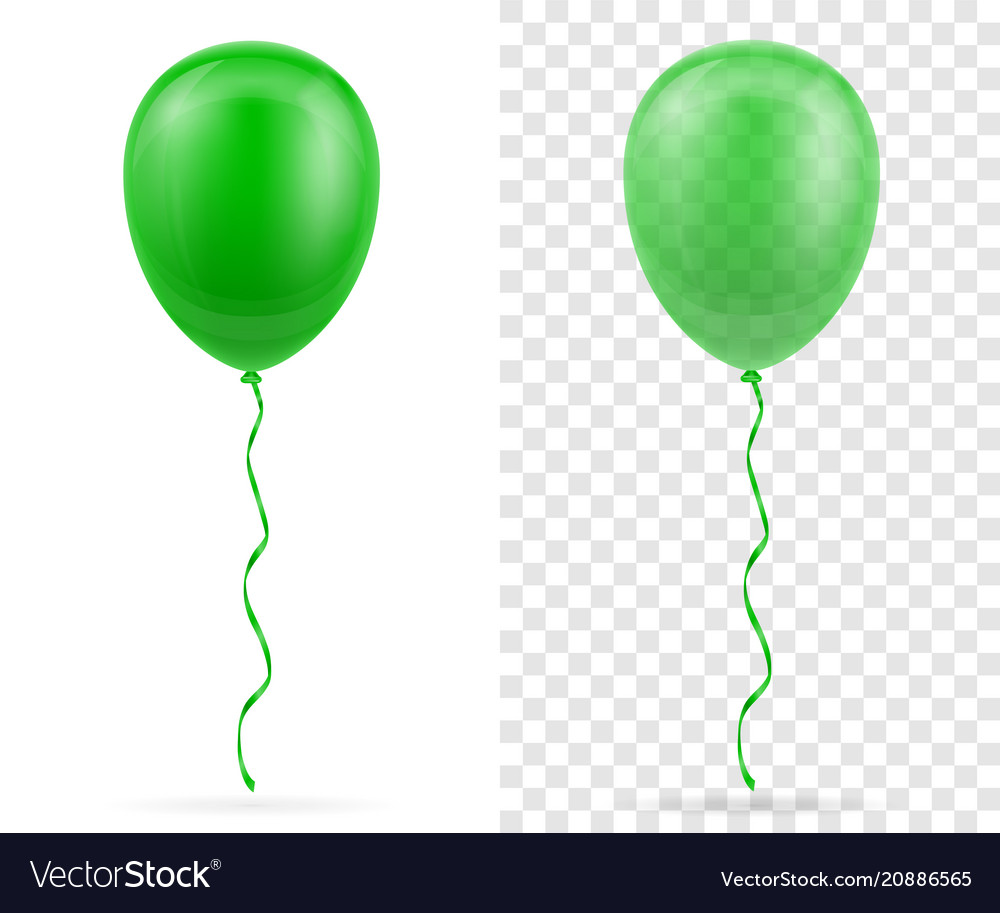 Celebratory green transparent balloons pumped vector image