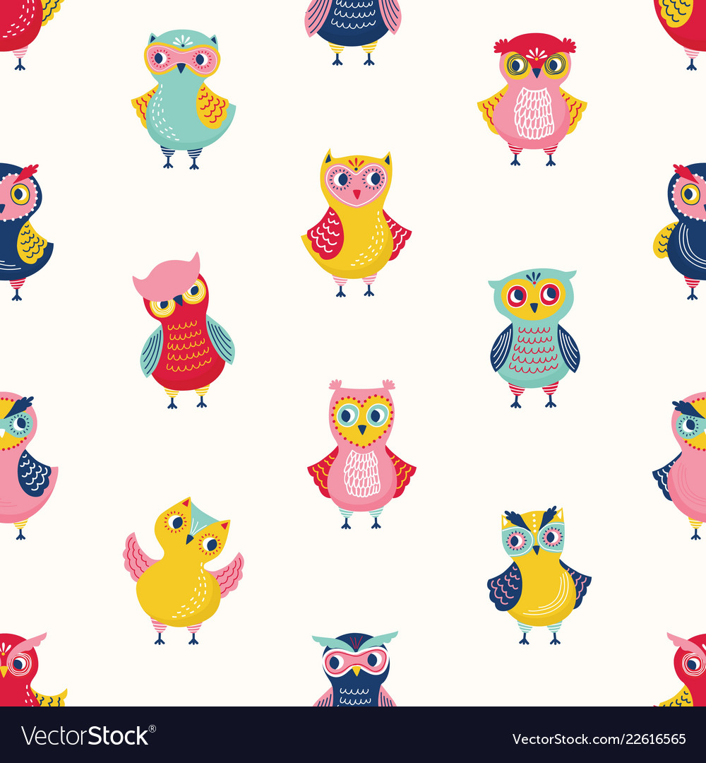 Childish seamless pattern with cute wise owls on