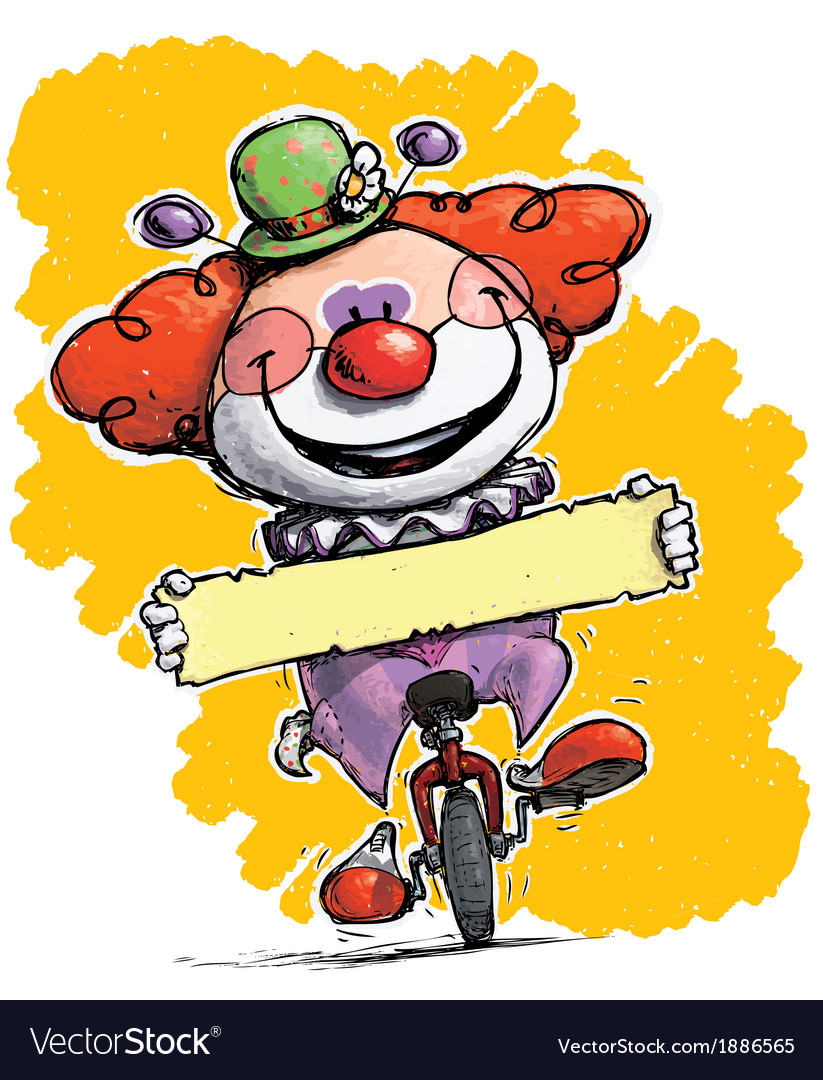 Clown on Unicle Holding a Label