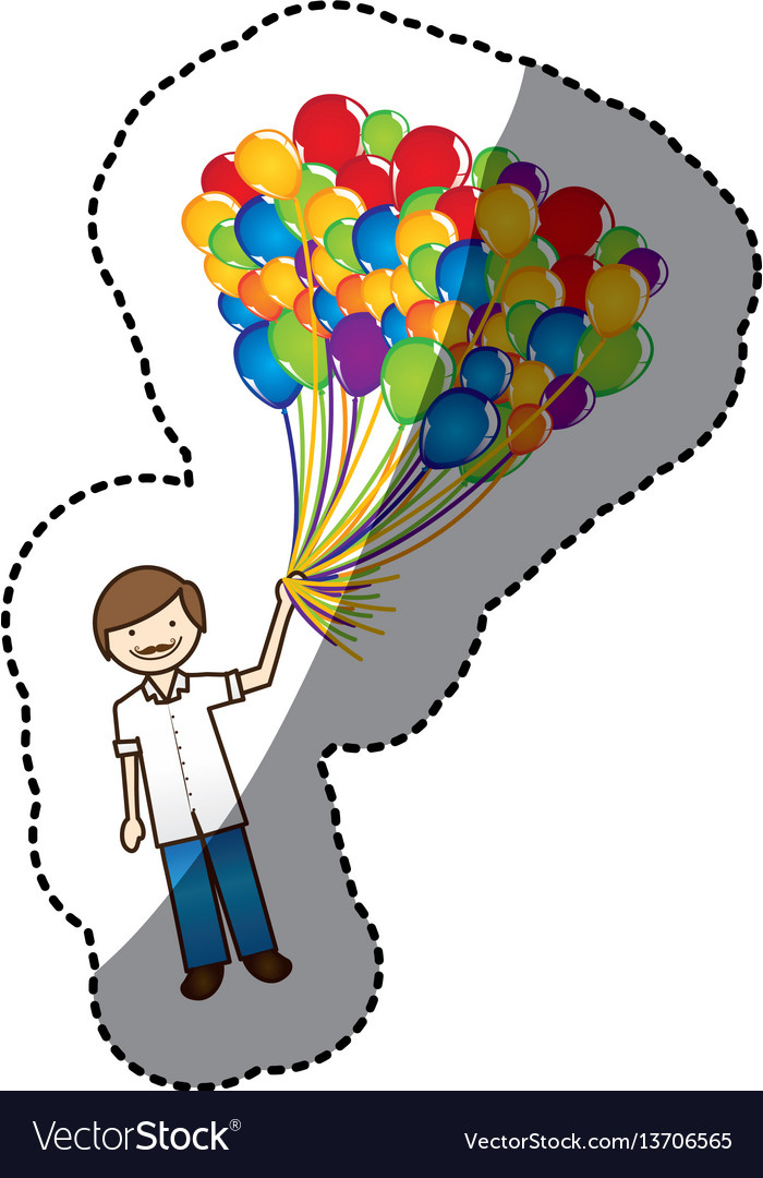 Color Happy Boy With Balloons In The Hand Vector Image