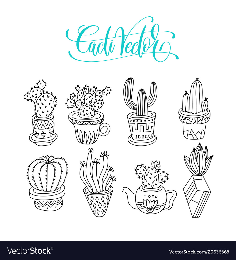 Doodle cacti collection black line hand drawing