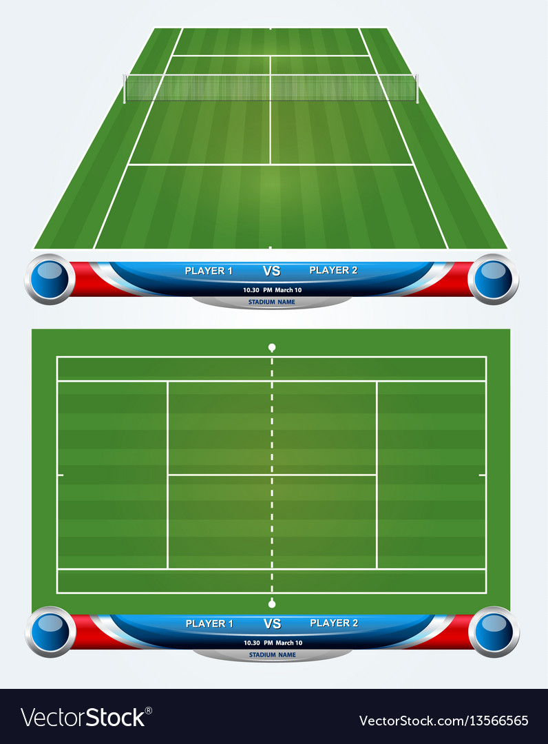 Empty Tennis Court With Set Of Infographic Element