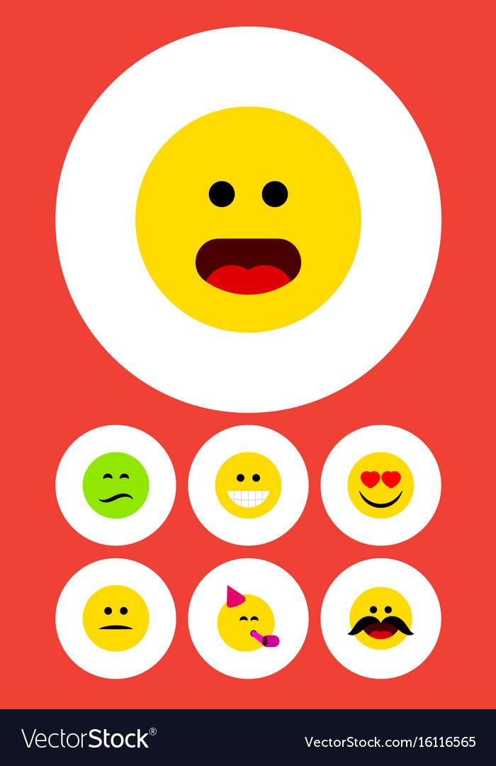 Flat icon gesture set of frown wonder cheerful