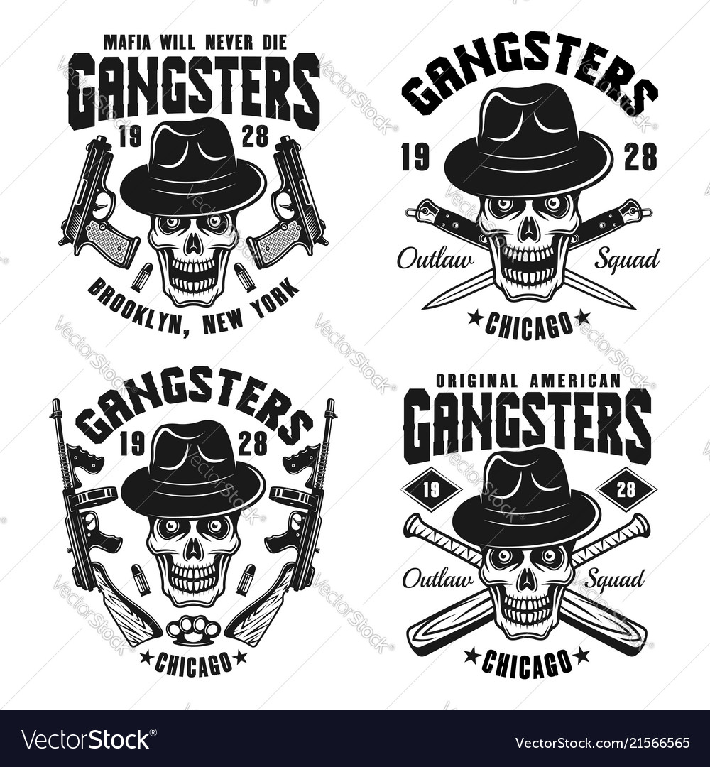 Gangsters emblems with skull in hat