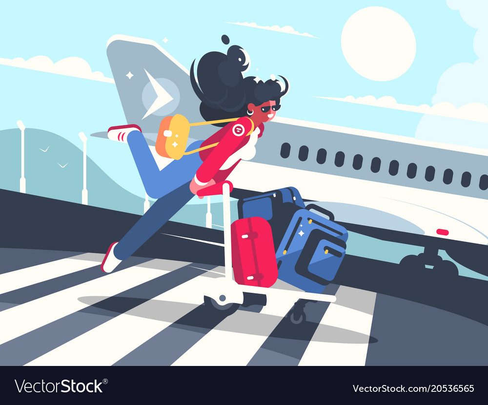 Girl carrying baggage on trolleys for flight