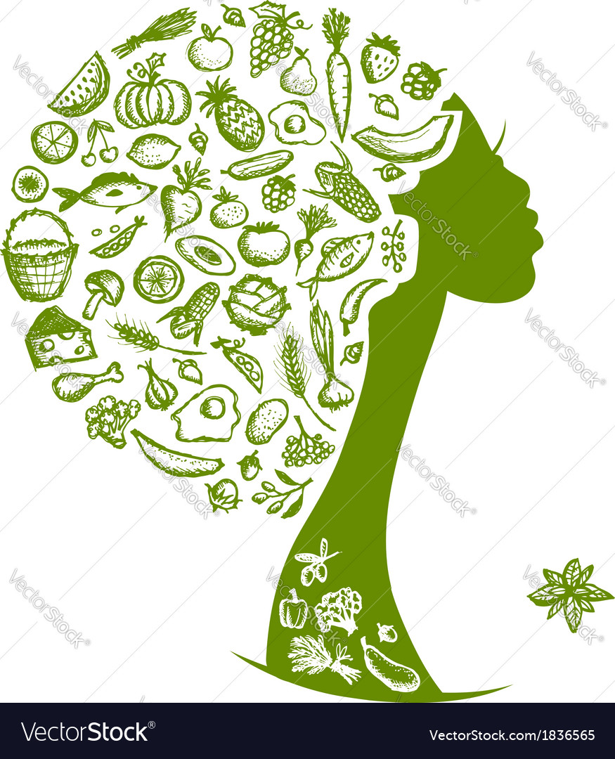 Healthy food concept female head with vegetables vector image