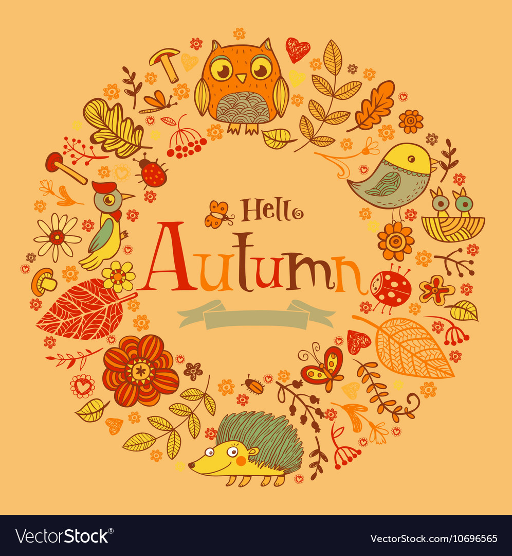 Hello Autumn banner in doodle style