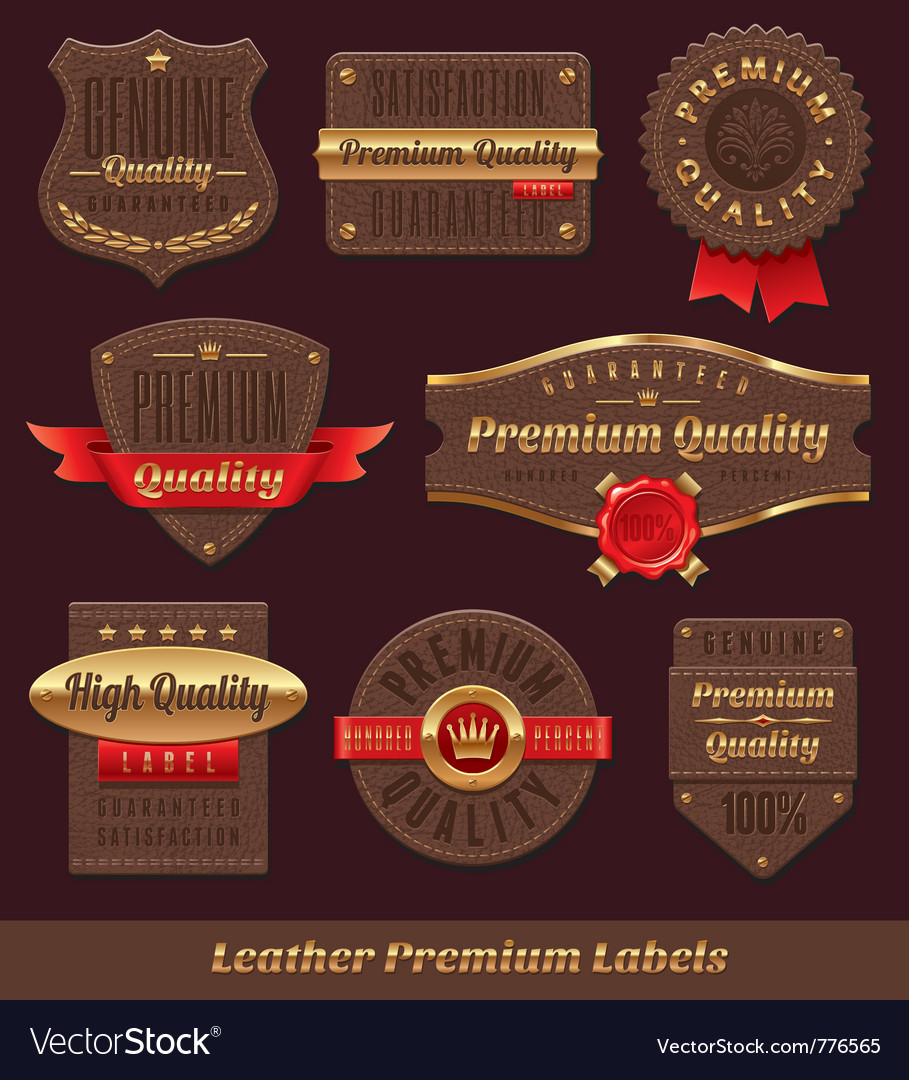 Leather premium and quality labels