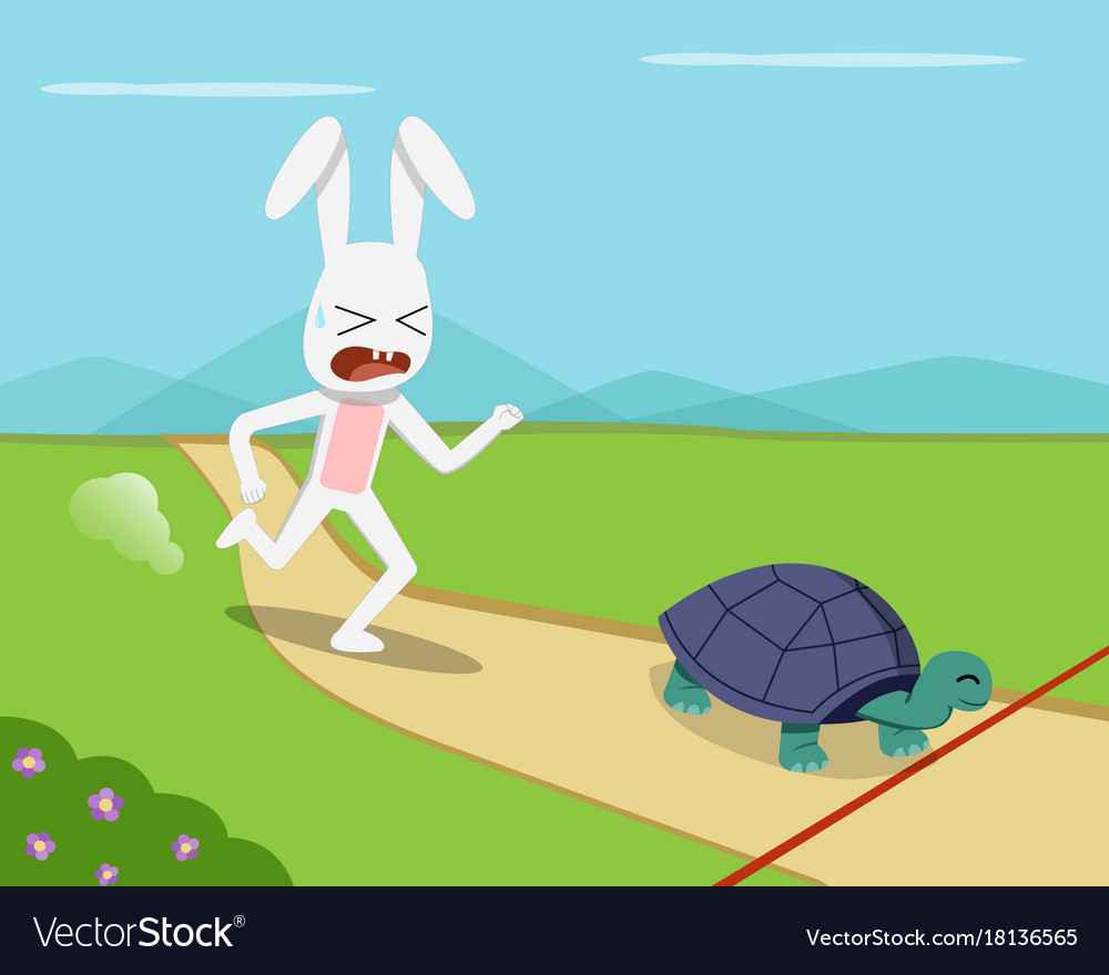 Rabbit and tortoise go to finish line