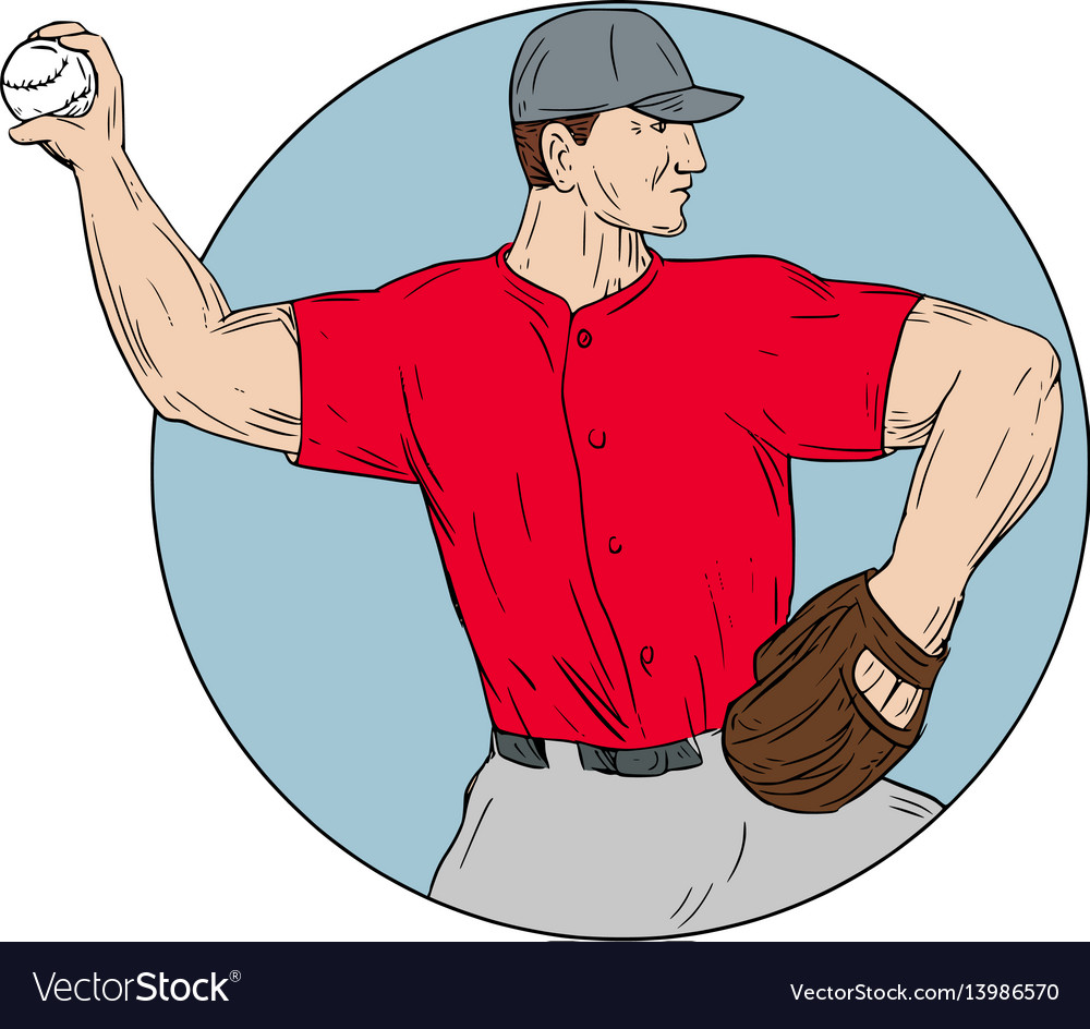 American baseball pitcher throwing ball circle