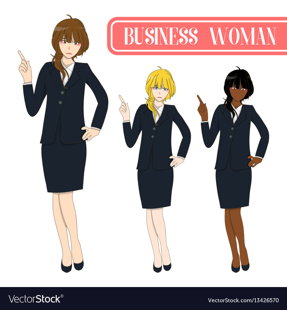 Business woman pointing with serious face vector image