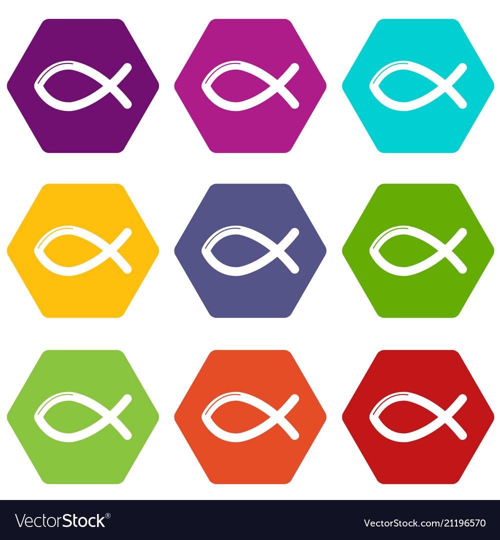 Christian Fish Symbol Icons Set 9 Royalty Free Vector Image