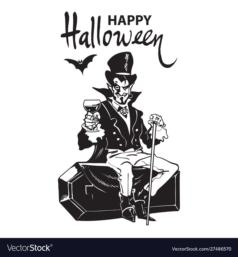 Happy halloween lettering count dracula sitting
