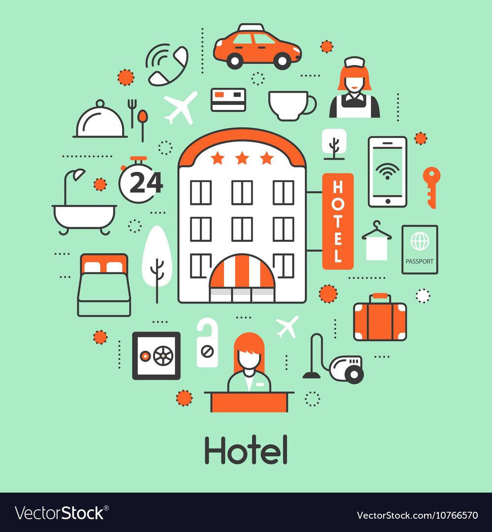 Hotel Accomodation Thin Line Icons Set vector image
