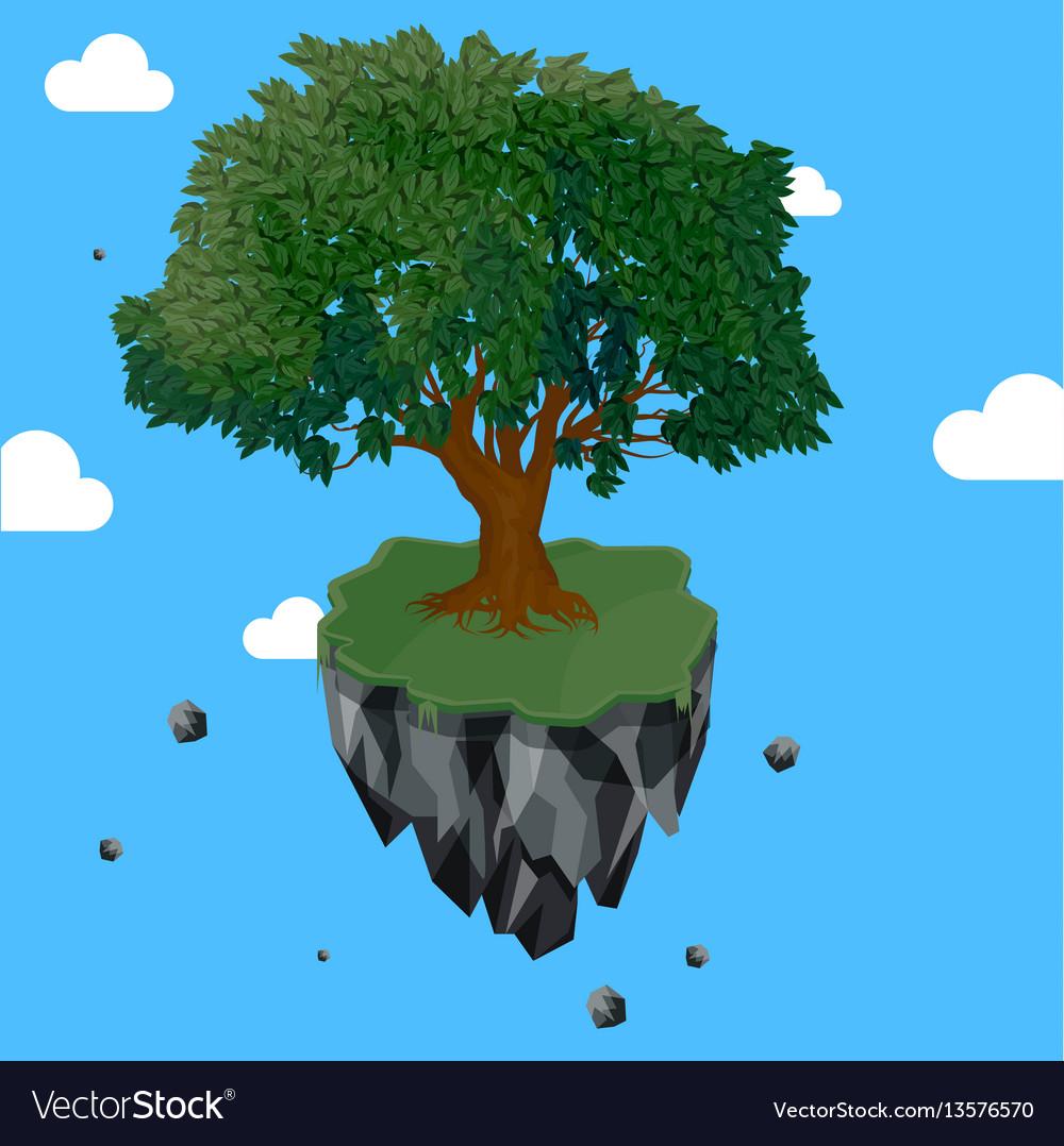 Magic tree on flying rock island