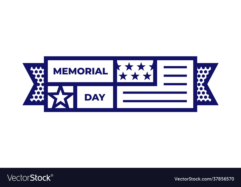 Memorial day pictograph or icon with national flag