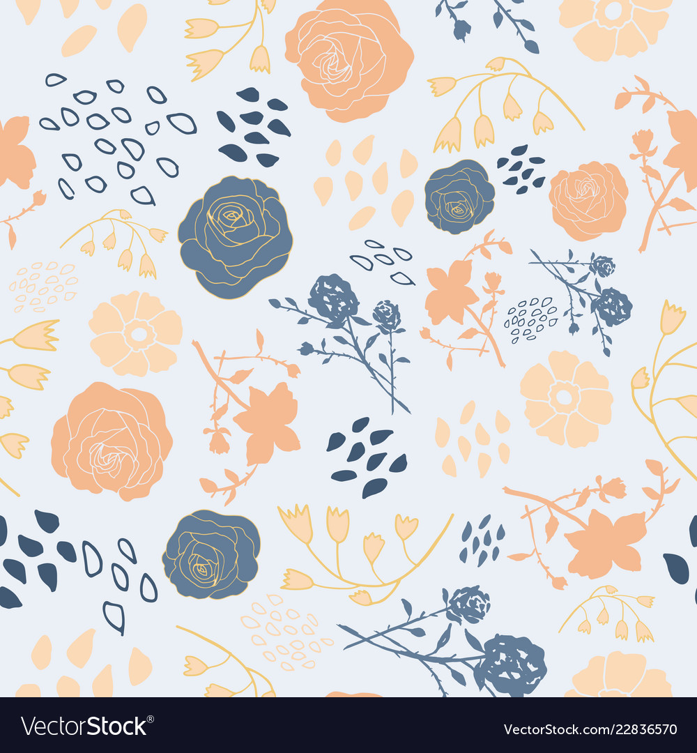 Mixed Summer Florals In Blue And Peach Royalty Free Vector