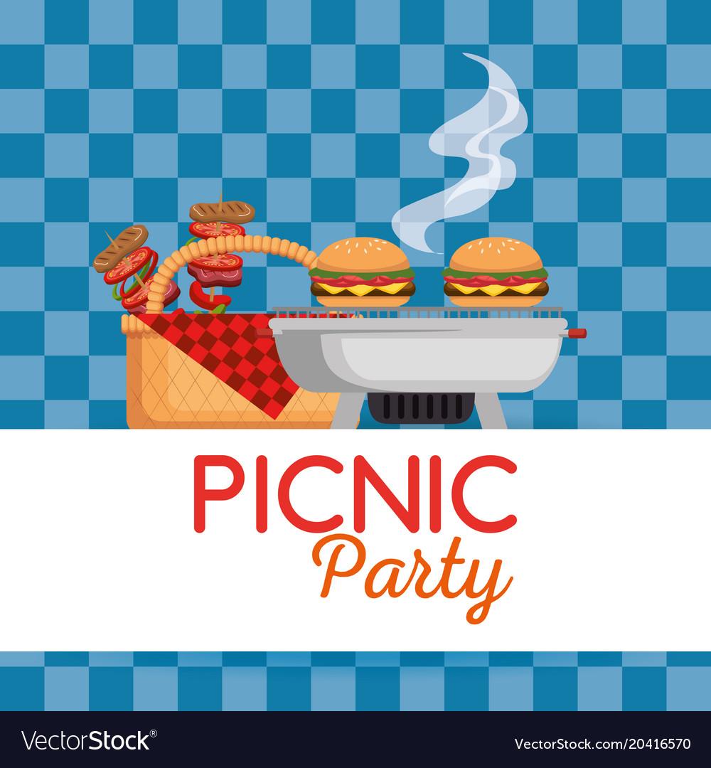 picnic party invitation set icons royalty free vector image
