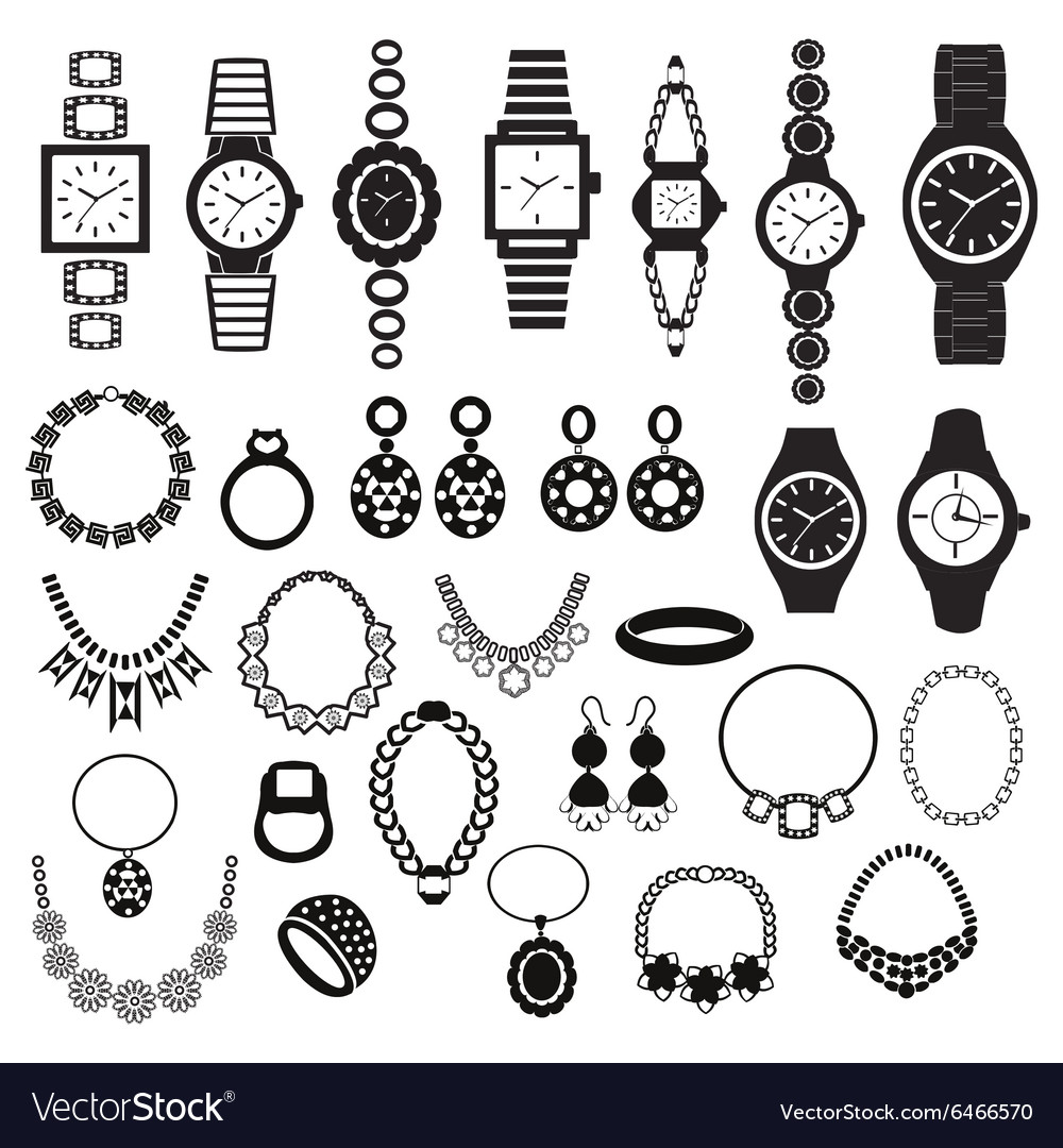 Silhouette icons set with fashion watches and jewe