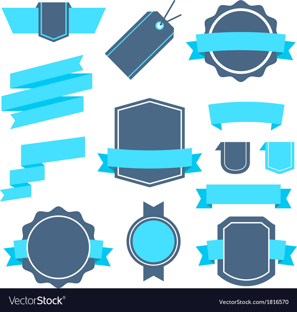 stickers and badges set 4 flat style royalty free vector
