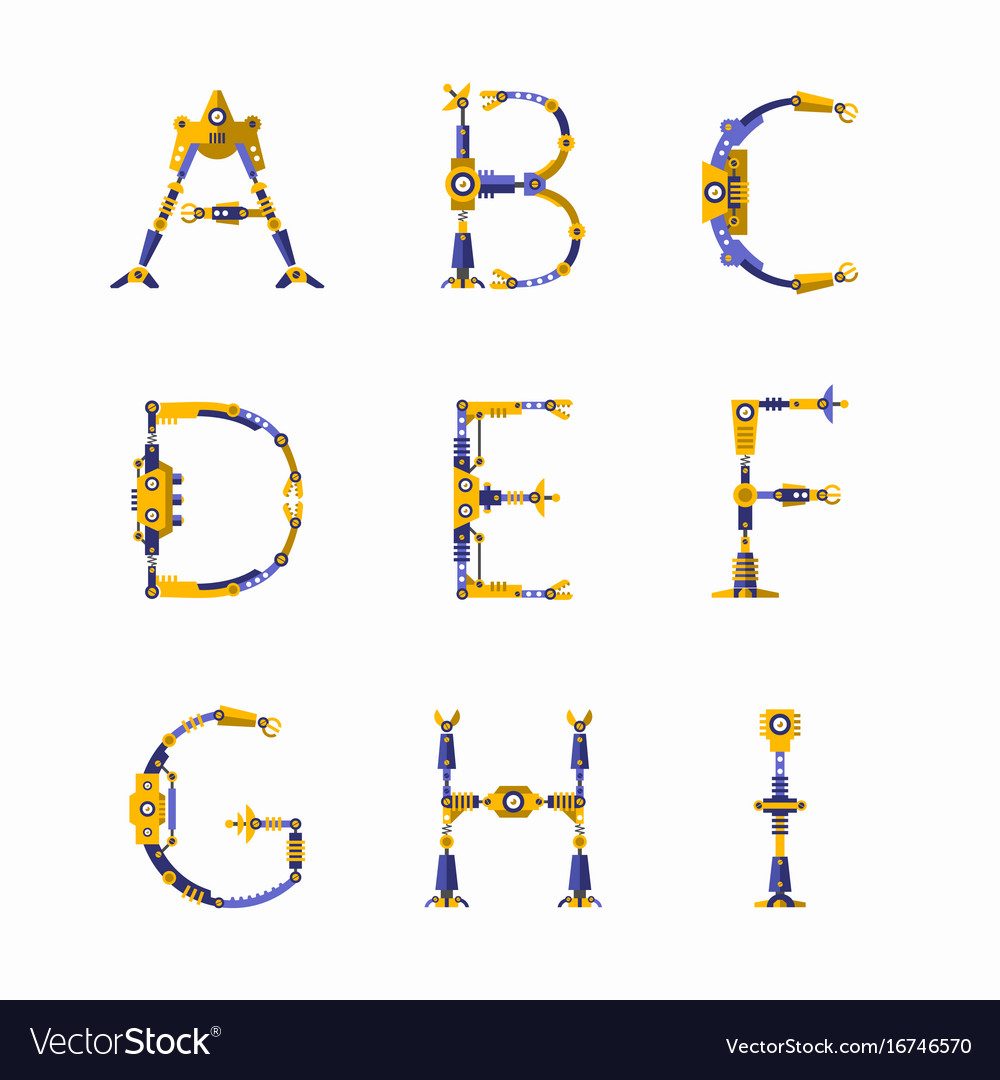 Technical robot font letters from a to i