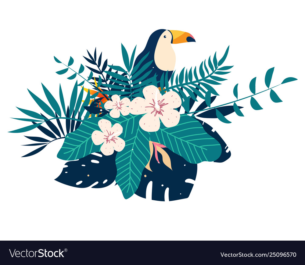 Toucan embroidery patches with tropical flowers