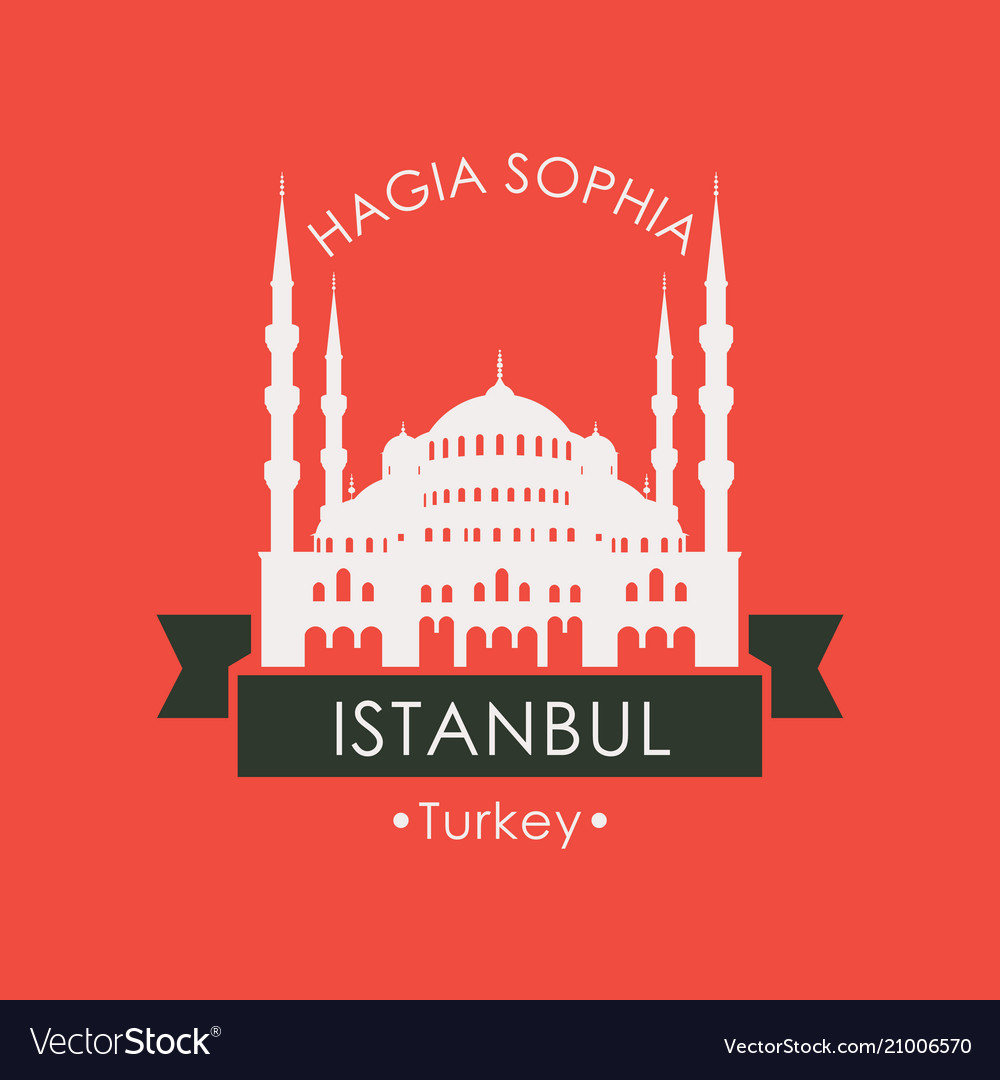 Travel banner with hagia sophia istanbul turkey